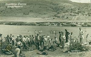 Vardar Offensive - German soldiers bathing in the Crna river in 1918.