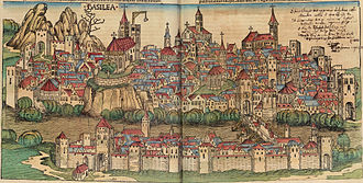 City map - View of Basel, Switzerland, ca 1490, from the Nuremberg Chronicle.