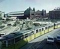 Nyugati (Marx) tér az aluljáró és a felüjáró építési munkálatai alatt, szemben a Nyugati pályaudvar. Fortepan 99464.jpg