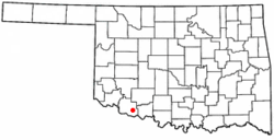 Location of Loveland, Oklahoma