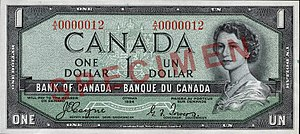 "1954 Series (banknotes) - Image: Obverse of $1 banknote, Canada 1954 Series, ""Devil's Head"" printing"