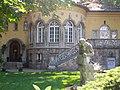 Odd side of the Városligeti fasor's monument building complex ID 8011. - Budapest District VII.Városligeti fasor 35 A. Villa Adam, garden sculpture.JPG
