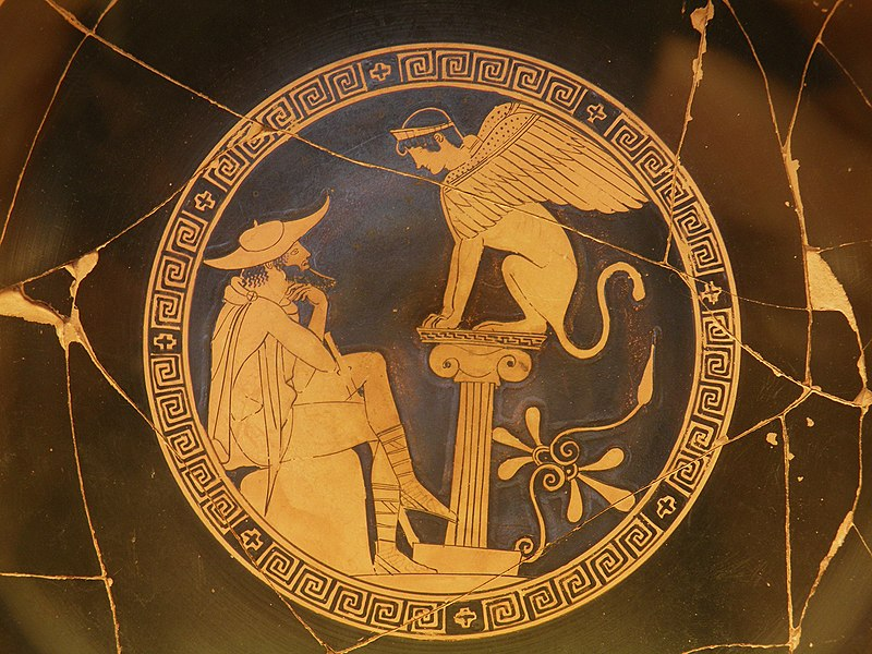 Oedipus and the Sphinx of Thebes, Red Figure Kylix, c. 470 BC, from Vulci, attributed to the Oedipus Painter, Vatican Museums (9665213064).jpg