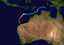 Map plotting the track and the intensity of the storm, according to the Saffir-Simpson scale Olivia 1996 track.png