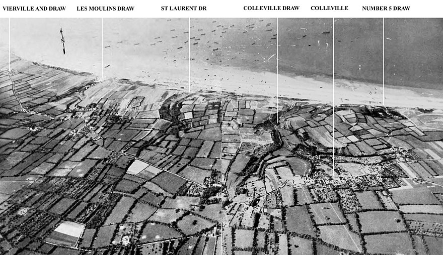 "Aerial view of Omaha showing the draws, left to right; Vierville (D-1), Les Moulins (D-3), St. Laurent (E-1), Colleville (E-3) and ""Number 5 Draw"" (F-1). Omaha beach aerial view draws.jpg"