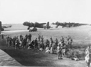 RAF Fairford - Soldiers boarding planes for Operation Market Garden