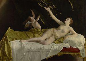 Danaë (Orazio Gentileschi) - Orazio Gentileschi, c, c. 1623, oil on canvas, 63 ½ by 89 ¼ in (161.3 by 226.7 cm.)