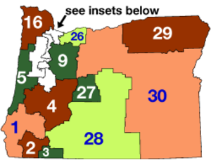 Oregon state elections, 2006 - Image: Oregon State Senate Districts