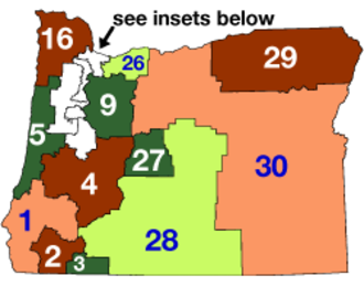 Oregon state elections, 2006 - Image: Oregon State Senate Districts