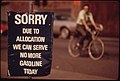 Oregon Still Had Scattered Gasoline Problems in May, 1974. A Downtown Station in Portland Shows a Sign Saying the Day's Allocation Is Sold Out. A Bicycler Uses an Alternate Method of Transportation 05-1974 (4271799411).jpg