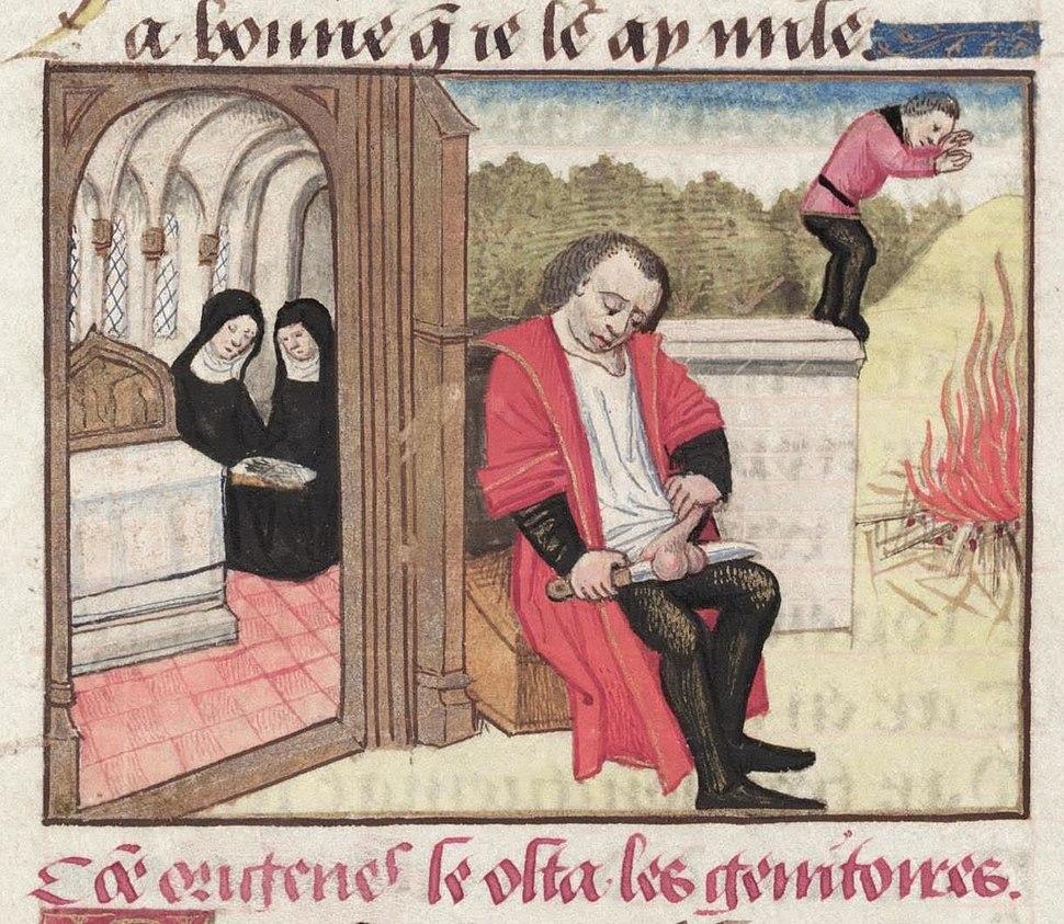 Origen emasculating himself (MS. Douce 195)