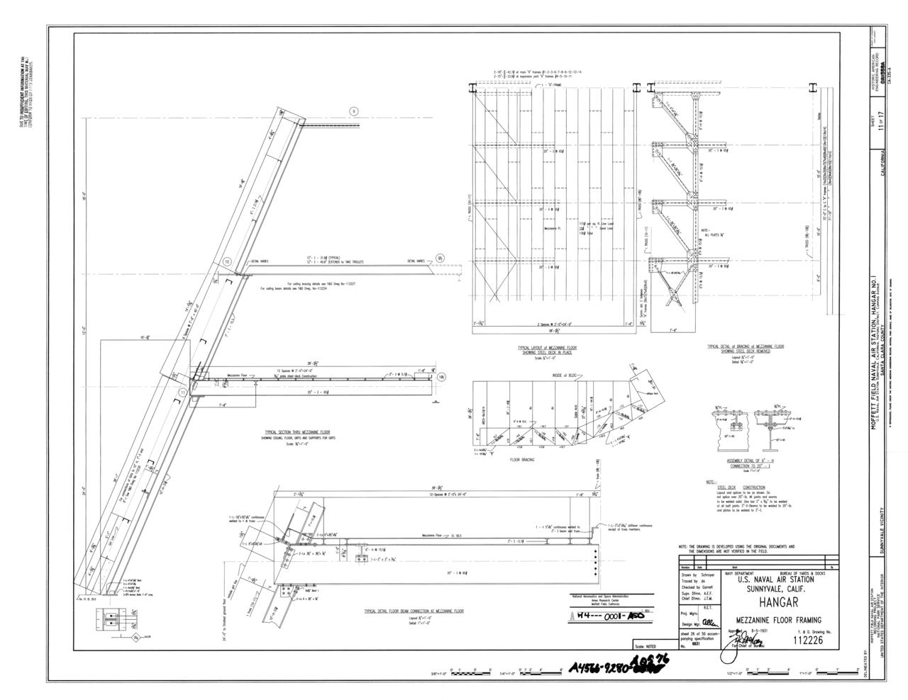 File original drawing mezzanine floor framing naval for Mezzanine floor construction details
