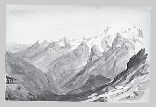Ortler Spitz from Summit of Stelvio Pass (from Switzerland 1869 Sketchbook)