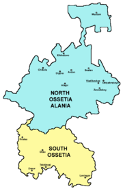 Map of North and South Ossetia.
