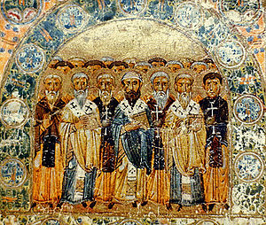 Church Fathers - The Church Fathers, an 11th-century Kievan Rus' miniature from Svyatoslav's Miscellany