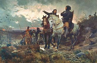 "Eric V of Denmark - ""The conspirators ride from Finderup after the murder of Eric Klipping St. Cecilia Night 1286"". Painted by Otto Bache, 1882."
