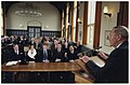 Oud-burgemeester L. de Gou presenteert zijn acht banden tellende levenswerk over het ontstaan van de Nederlandse Grondwet in het gebouw van de Koninklijke Nederlandsche Maatschappij van Wete, NL-HlmNHA 54030342.JPG