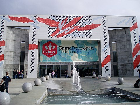 Outside the San Jose Convention Center during GDC 2004. Outside of Game Developers Conference 2004.jpg