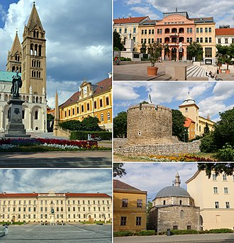 Pécs - Pécs、Clockwise from top left: Cathedral, Széchenyi Square, the Barbakán, Mosque of Jakováli Hasszán pasa, Kossuth Square