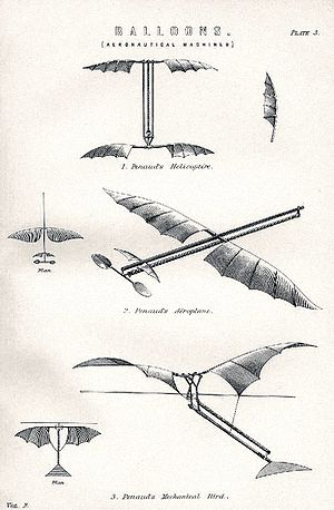 Pusher configuration - Top to bottom: 1870 helicopter; 1871 'Planophore; 1873 ornithopter