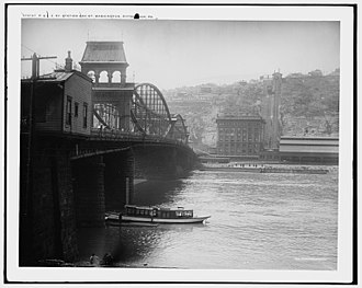 Mount Washington, Pittsburgh (mountain) - Image: P. & L.E. Ry. Pittsburgh and Lake Erie Railroad station and Mt. Washington, Pittsburgh, Pa. c.1905