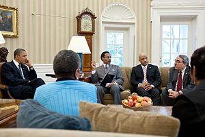 André Carson - Carson (2nd from right) in a meeting with President Barack Obama and members of the Congressional Black Caucus Executive Committee at the Oval Office, March 30, 2011