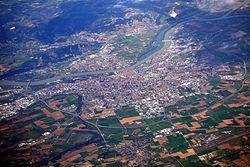 Valence vue du ciel, avec les aménagements du Rhône.