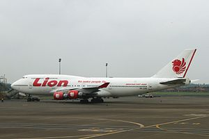 Lion Air - PK-LHG, A Lion Air Boeing 747-400 at Soekarno-Hatta International Airport.