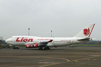 Lion Air - PK-LHG, A Lion Air Boeing 747-400 at Soekarno-Hatta International Airport.