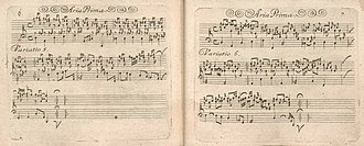 Hexachordum Apollinis - The fifth and the sixth variations from Aria Prima, as they appeared in the first edition. Note that both variations display characteristic style brisé figurations.