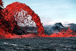 Molten rock expelled by a volcano during an eruption