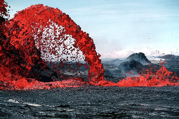 10-metre-high (33 ft) fountain of pahoehoe lava, Hawaii, United States Pahoeoe fountain edit2.jpg