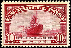 Mail tender - Image: Parcel post steamship 10c 1913 issue