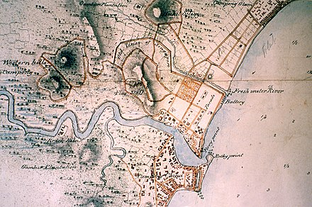 1825 survey map. Singapore's free port trade was at Singapore River for 150 years. Fort Canning hill (centre) was home to its ancient and early colonial rulers.