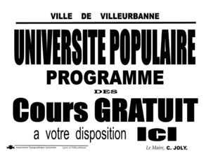 Popular education - List of lectures, Université populaire – town of Villeurbanne – 1936.
