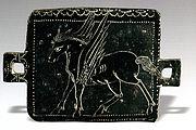 "Parthian era Bronze plate with Pegasus depiction (""Pegaz"" in Persian). Excavated in Masjed Soleiman, Khuzestan, Iran."
