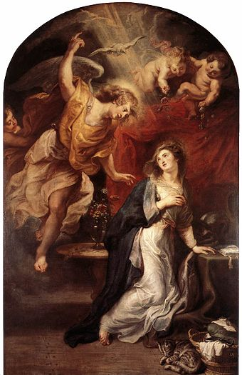 The Holy Spirit as a dove in the Annunciation by Rubens, 1628 Peter Paul Rubens - Annunciation - WGA20250.jpg