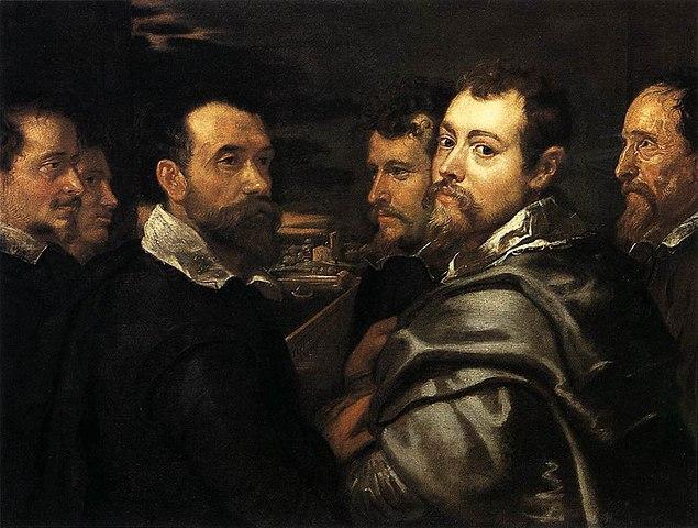 Автопортрет с кругом друзей из Вероны. 1602—1604, масло, холст. 77,5 × 161 см. Кёльн, Музей Вальрафа-Рихарца