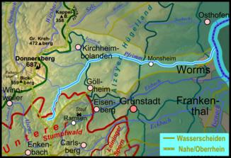 Pfrimm zwischen Seebach (Norden) und Eisbach (Süden)