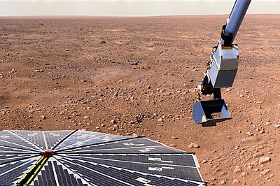 Phœnix lander at the northern arctic circle of Mars.jpg