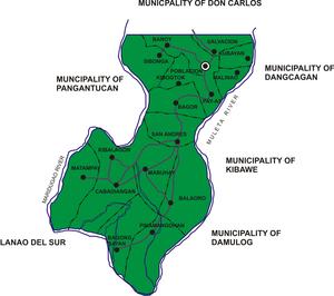 Kadingilan, Bukidnon - Political map of Kadingilan showing its 17 barangays