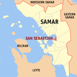Map of Samar with San Sebastian highlighted