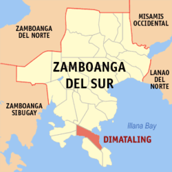 Map of Zamboanga del Sur with Dimataling highlighted