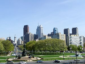 Rocky Steps - View of the Ben Franklin Parkway from the top of the steps