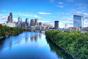 Schuylkill River - The Schuylkill River looking south toward the Philadelphia skyline