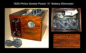 "Philco - Philco produced Socket Power ""A"", ""B"", and ""AB"" Battery Eliminators, starting in 1925."