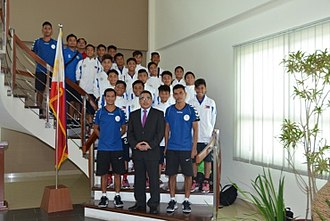 Emelio Caligdong - Caligdong (in blue; front left) with the Philippine U14 team