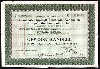 Philips - Share of the Philips Gloeilampenfabrieken, issued 14. December 1928
