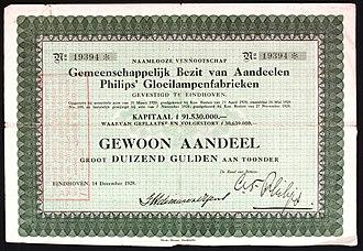 Philips - Share of the Philips Gloeilampenfabrieken, issued 14. December 1928