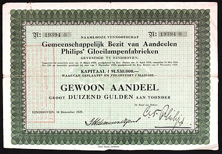 Share of the Philips Gloeilampenfabrieken, issued 14. December 1928 Philips Gloeilampenfabrieken 1928.JPG